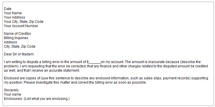 account number and a description of the billing error including the amount and date of the error your letter may look something like this sample